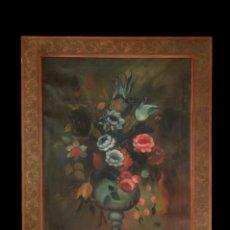 Arte: JARRÓN CON FLORES, , 110 X 82 . PRECIOSO.. Lote 128958007
