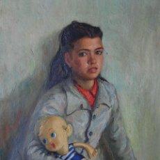 Arte: RETRATO ORIGINAL 1920'S: NIÑA - JOVEN ADOLESCENTE CON MUÑECO DE TRAPO. Lote 128964995