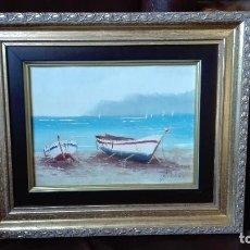 Arte: MARINA FIRMADA BLANCO OLEO SOBRE LIENZO.. Lote 128965155