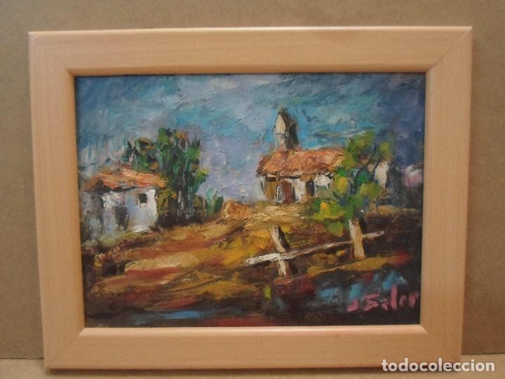 ÓLEO PAISAJE CON CASAS. J SOLER (Arte - Pintura - Pintura al Óleo Contemporánea )