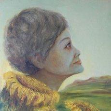 Arte: PINTURA SIMBÓLICA ORIGINAL 1950'S: MUJER - GIRASOL. Lote 128980795
