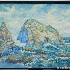 Arte: PINTOR F. MORALES 1937 - PAISAJE MAR Y COSTA. Lote 128994951