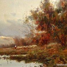 Arte: JOSEP COLOMER I COMAS (SANT FELIU DE PALLEROLS. GIRONA 1935 - 2003) OLEO TELA. PAISAJE CON REBAÑO. Lote 129004779