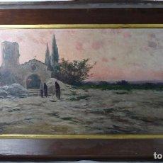 Arte: GRAN PAISAJE -ESCUELA CATALANA- S XIX- FIRMA ILEGIBLE, CON MARCO 146X82 CM.. Lote 129065175