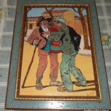 Arte: PINTURA AL OLEO SOBRE TABLA CON 2 PERSONAJES POPULARES FIRMADA CECILIO MIDE 41/31 CM. . Lote 129065539