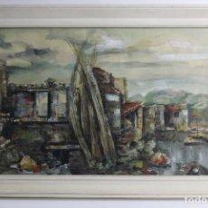 Arte: B- 711. OLEO Y ACUARELA SOBRE PAPEL. SIN FIRMA. S.XX.. Lote 129080815