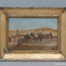Kunst - BONITO OLEO S/ CARTON. ESCENA DE BURROS Y PASTOR CON ERMITA. SIGLO XIX - 129188787