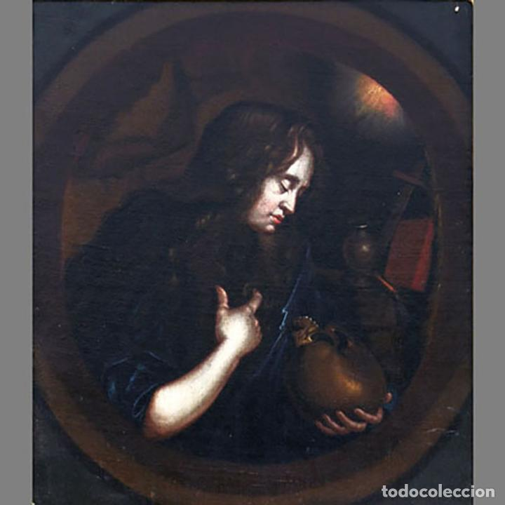 SEGUIDOR DE GODFRIED SCHALKEN (SIGLO XVIII) LA MAGDALENA PENITENTE/THE PENITENT MAGDELEN. ÓLEO SOBRE (Arte - Pintura - Pintura al Óleo Antigua siglo XVIII)
