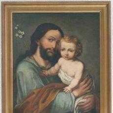 Arte: ESCUELA ESPAÑOLA. SIGLO XVII-XVIII. SAN JOSÉ CON EL NIÑO JESÚS. ÓLEO SOBRE LIENZO.. Lote 129223310