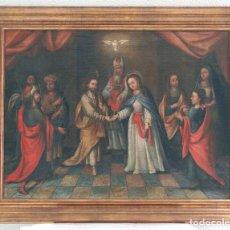 Arte: ESCUELA SEVILLANA. SEGUIDOR DE MATÍAS DE ARTEAGA (SIGLO XVII-XVIII) LOS ESPONSALES. ÓLEO SOBRE LIENZ. Lote 129223318