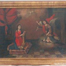 Arte: ESCUELA SEVILLANA. SEGUIDOR DE MATÍAS DE ARTEAGA (SIGLO XVII-XVIII) LA ANUNCIACIÓN. ÓLEO SOBRE LIENZ. Lote 129223322