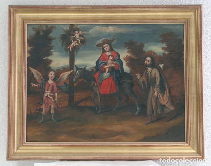 ESCUELA SEVILLANA. SEGUIDOR DE MATÍAS DE ARTEAGA (SIGLO XVII-XVIII) LA HUIDA A EGIPTO. (Arte - Pintura - Pintura al Óleo Antigua siglo XVIII)