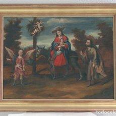 Arte: ESCUELA SEVILLANA. SEGUIDOR DE MATÍAS DE ARTEAGA (SIGLO XVII-XVIII) LA HUIDA A EGIPTO. ÓLEO SOBRE LI. Lote 129223334