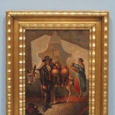 Arte: BONITO OLEO S/ TABLA. AGUADOR. FIRMADO. SIGLO XIX. Lote 129319035