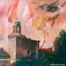 Arte: JOSÉ MÁRQUEZ ALCALÁ (ARCOS DE LA FRONTERA 1937-). IGLESIA EN VALENCIA DE ALCÁNTARA. ÓLEO SOBRE LIENZ. Lote 129437444