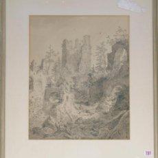 Arte: CARL AUGUST LEBSCHEE (ALEMÁN 1800-1877). RUINAS ALREDEDOR DE LA TORRE DE EISENBERG. LÁPIZ, CARBÓN, T. Lote 129437484