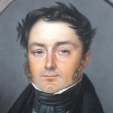 Arte: PINTURA MINIATURA GRAN CALIDAD MARFIL FIRMA DEDÔME 1836 CABALLERO CON LEVITA PPIOS S XIX 20,3X17CM. Lote 129448943