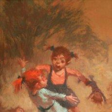 Arte: MANUEL MONEDERO (SEVILLA 1925-2002). NIÑAS JUGANDO. ÓLEO SOBRE LIENZO.. Lote 129513779