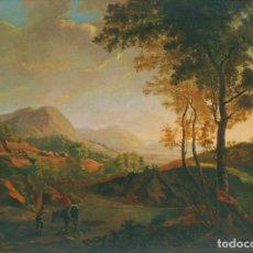Arte: SEGUIDOR DE CLAUDE LORRAIN, LLAMADO EL LORENÉS (SIGLO XIX). UN ALTO EN EL CAMINO. ÓLEO SOBRE LIENZO.. Lote 129513791