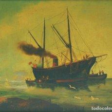 Arte: R. HERRERA (ESPAÑOL, SIGLO XIX). BARCO DE VAPOR. ÓLEO SOBRE TABLA.. Lote 129513859