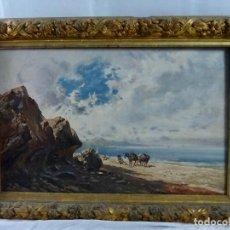 Arte: INTERESANTE PAISAJE EN OLEO- S XIX- ESCUELA CATALANA- MARCO DE ÉPOCA- SIN FIRMAR. Lote 129522951