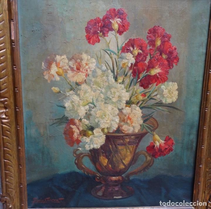 Arte: Gran óleo de García cuervas.buen trazo.jarron de flores. - Foto 2 - 129540683