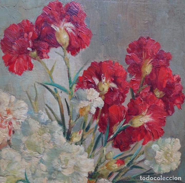 Arte: Gran óleo de García cuervas.buen trazo.jarron de flores. - Foto 3 - 129540683