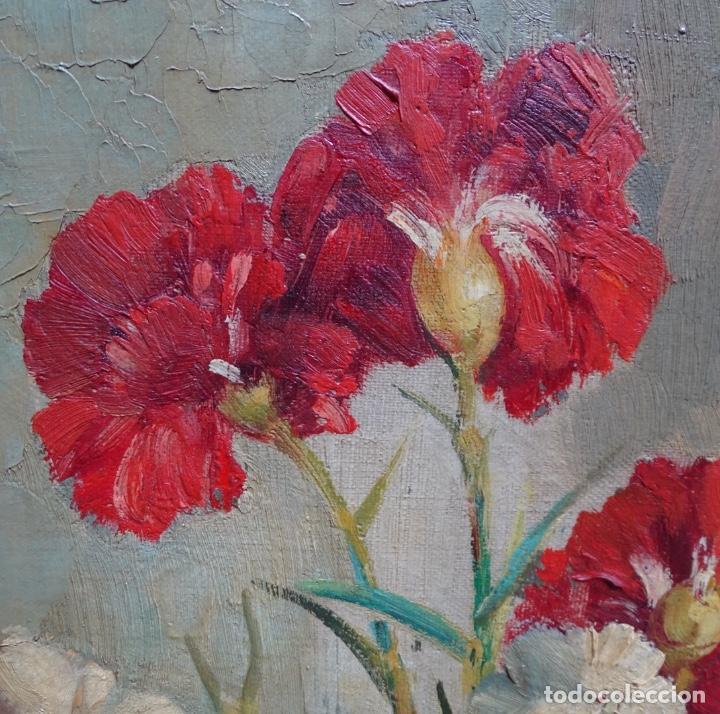 Arte: Gran óleo de García cuervas.buen trazo.jarron de flores. - Foto 4 - 129540683