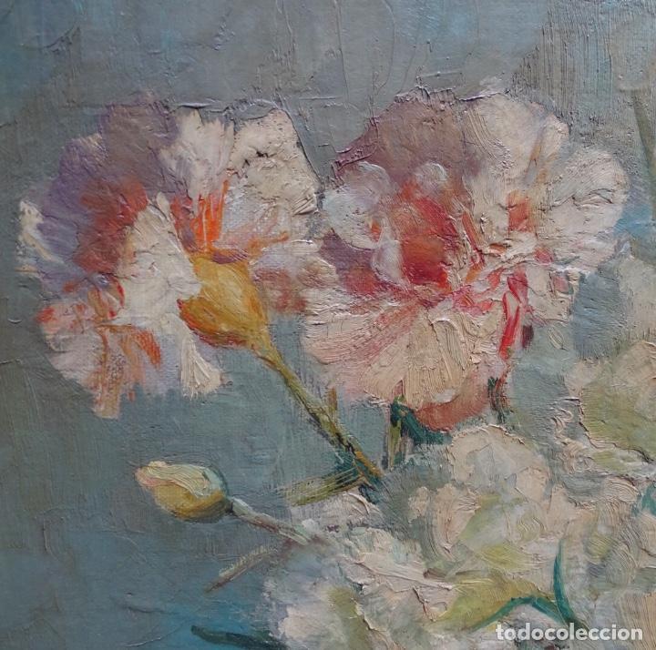 Arte: Gran óleo de García cuervas.buen trazo.jarron de flores. - Foto 5 - 129540683