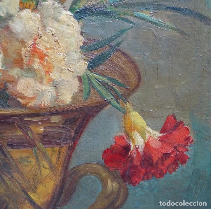 Arte: Gran óleo de García cuervas.buen trazo.jarron de flores. - Foto 6 - 129540683