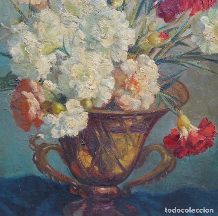 Arte: Gran óleo de García cuervas.buen trazo.jarron de flores. - Foto 7 - 129540683