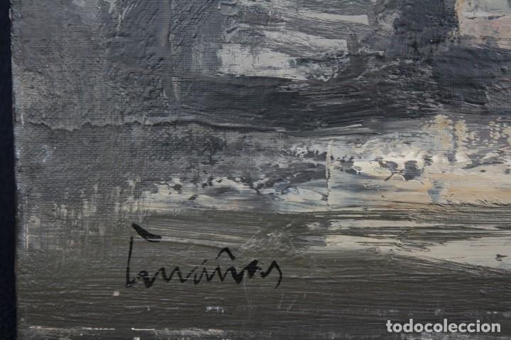 Arte: JOSEP CRUAÑAS FAGÉS (MAYÀ DE MONTCAL, GIRONA 1942) OLEO / TELA. PAISAJE CON BARCOS - Foto 3 - 129684243