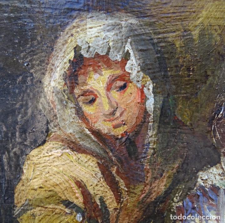 Arte: Óleo sobre tela s.xix.muy buen trazo.Circulo Lucas Velázquez-Villamil. - Foto 3 - 238682500