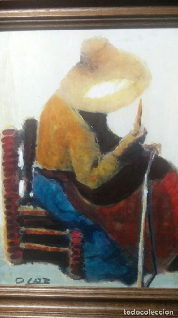 mujer sentada, óleo firmado díaz, 23 x 18 - mar - Comprar Pintura al ...