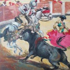 Arte: JOSÉ LÓPEZ CANITO (MADRID,1942) - ESCENA TAURINA,PICADOR.OLEO/TELA.FIRMADO.1973.. Lote 130024964
