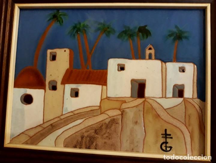 PINTURA PAISAJE SOBRE AZULEJO ENMARCADO DE GERÁRD DE ALICANTE, ENMARCADO BUEN ESTADO (Arte - Pintura - Pintura al Óleo Moderna sin fecha definida)