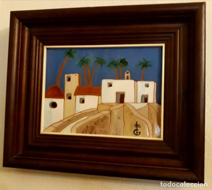 Arte: pintura paisaje sobre azulejo enmarcado de gerárd de alicante, enmarcado buen estado - Foto 2 - 130085703