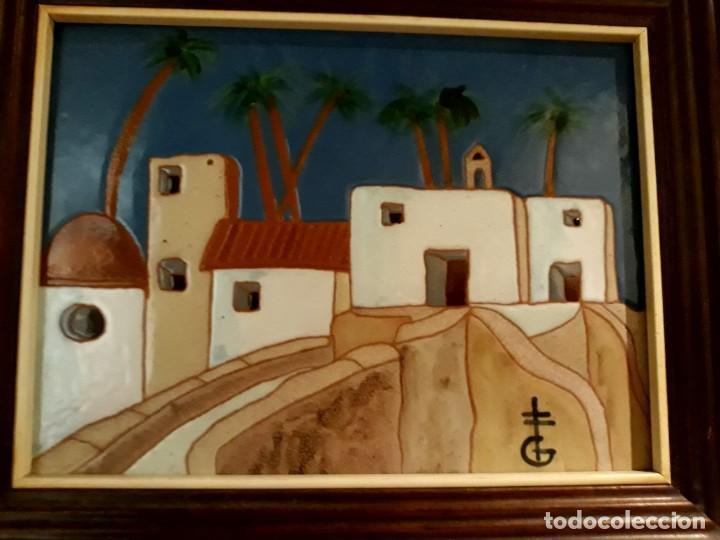 Arte: pintura paisaje sobre azulejo enmarcado de gerárd de alicante, enmarcado buen estado - Foto 4 - 130085703