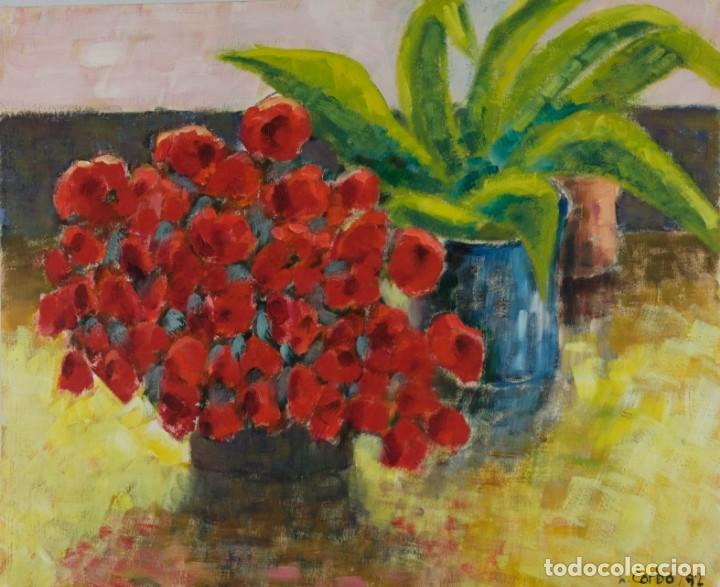 Óleo sobre papel Florero con flores y maceta firmado L.Carbó 1992 segunda mano