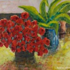 Arte: ÓLEO SOBRE PAPEL FLORERO CON FLORES Y MACETA FIRMADO L.CARBÓ 1992. Lote 130101091