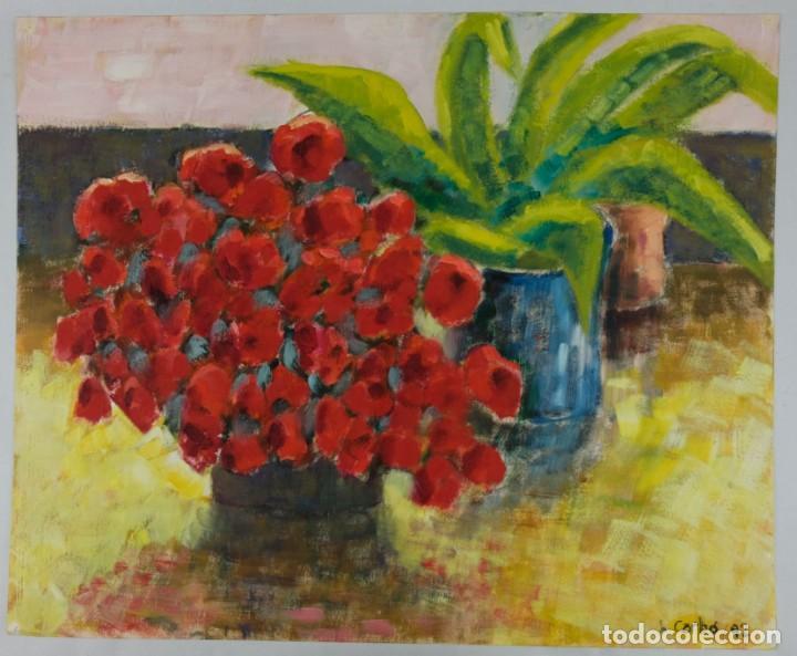 Arte: Óleo sobre papel Florero con flores y maceta firmado L.Carbó 1992 - Foto 2 - 130101091