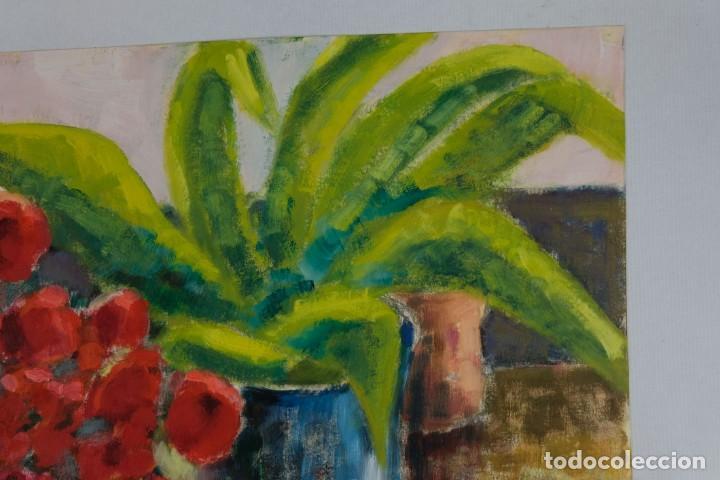 Arte: Óleo sobre papel Florero con flores y maceta firmado L.Carbó 1992 - Foto 3 - 130101091