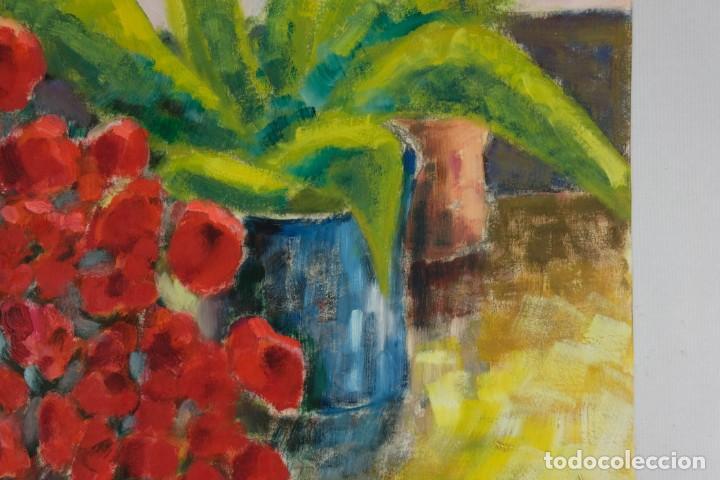 Arte: Óleo sobre papel Florero con flores y maceta firmado L.Carbó 1992 - Foto 4 - 130101091