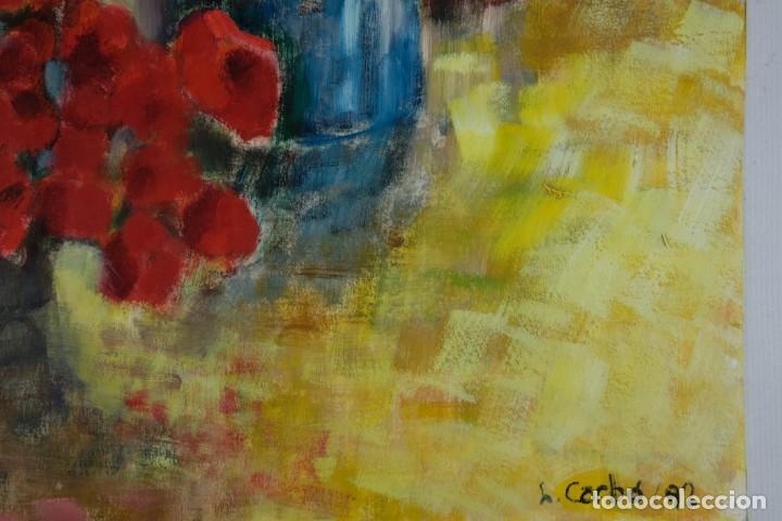 Arte: Óleo sobre papel Florero con flores y maceta firmado L.Carbó 1992 - Foto 5 - 130101091