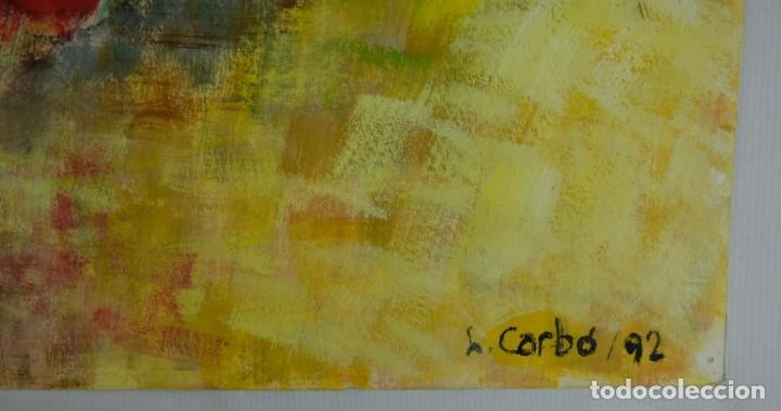 Arte: Óleo sobre papel Florero con flores y maceta firmado L.Carbó 1992 - Foto 6 - 130101091