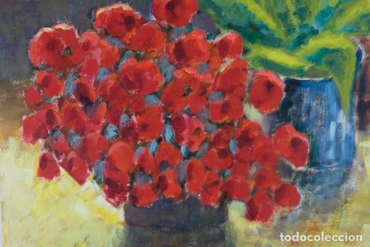 Arte: Óleo sobre papel Florero con flores y maceta firmado L.Carbó 1992 - Foto 7 - 130101091