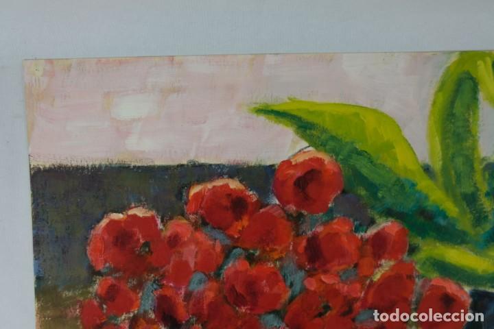 Arte: Óleo sobre papel Florero con flores y maceta firmado L.Carbó 1992 - Foto 8 - 130101091