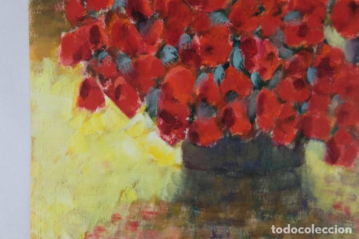 Arte: Óleo sobre papel Florero con flores y maceta firmado L.Carbó 1992 - Foto 9 - 130101091