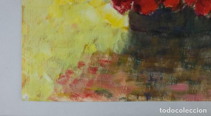 Arte: Óleo sobre papel Florero con flores y maceta firmado L.Carbó 1992 - Foto 10 - 130101091