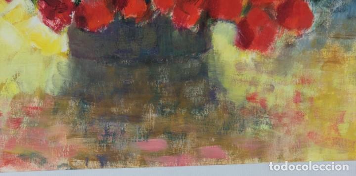 Arte: Óleo sobre papel Florero con flores y maceta firmado L.Carbó 1992 - Foto 11 - 130101091